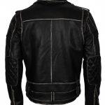 Men Classic Marlon Brando Rub off Biker Black Motorcycle Leather Jacket