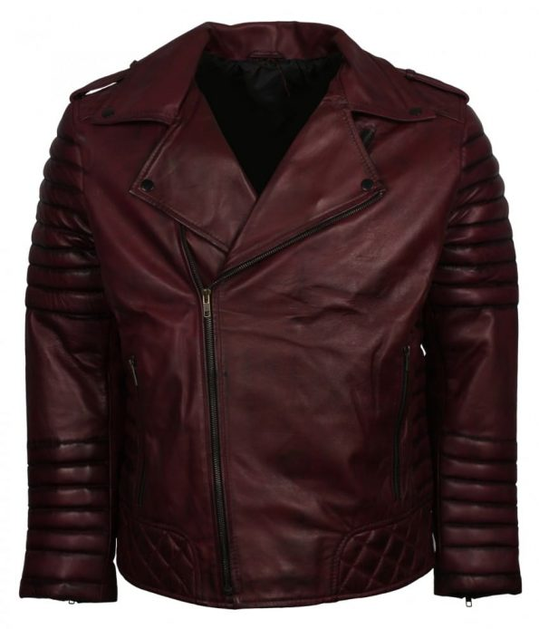 Men Designer Boda Biker Maroon Quilted Bomber Leather Jacket