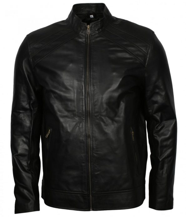 Men Designer Bomber Black Real Leather Biker Jacket Outfit
