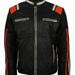 Men Retro Designer Cafe Racer Striped Black Leather Motorcycle Jacket