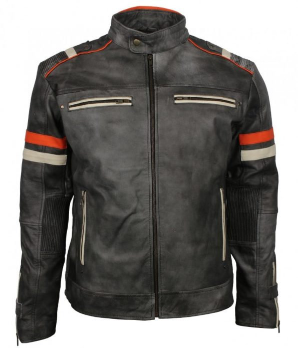 Men Retro Style Biker Distressed Grey Striped Motorcycle Leather Jacket