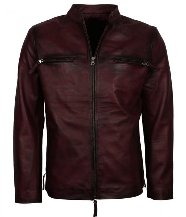 Men Simple Fast and Furious Vin Diesel Maroon Waxed Leather Jacket