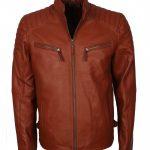 Mens Simple Tan Quilted Vin Diesel Designer Biker Leather Jacket
