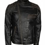 Men Skull Vintage Biker Distressed Black Motorcycle Leather Jacket