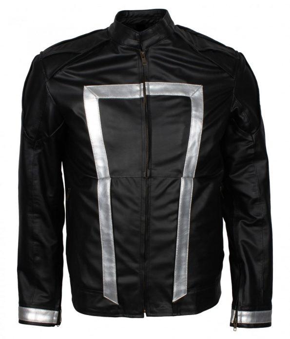 Mens Agent of Shield Ghost Rider Striped Black Biker Leather Jacket