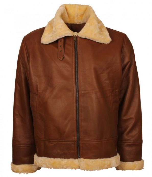 Men Aviator B3 Bomber Fur Lined Brown Winter Real Leather Jacket