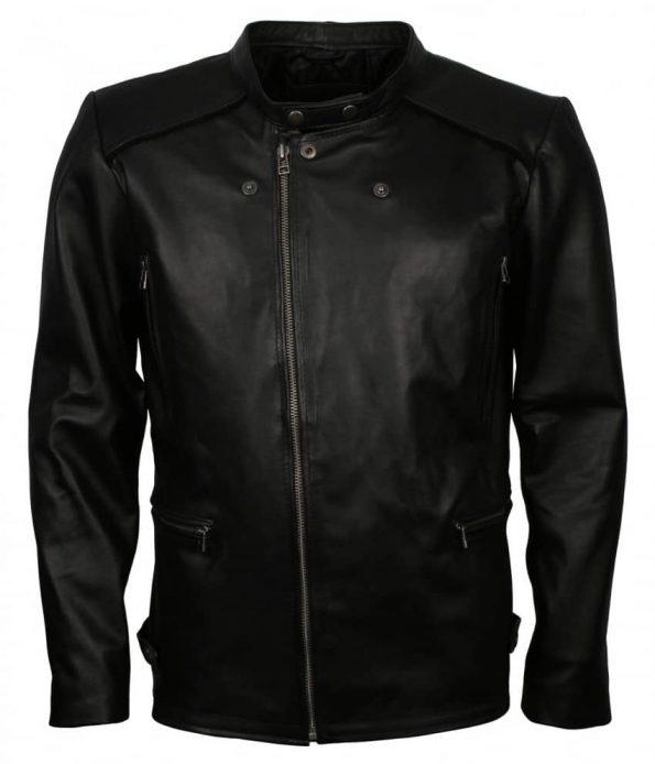 Mens Black Designer Fitted Real Biker Black Leather Jacket Outfit