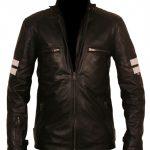 Mens Black with White Stripes Retro Biker Style Faux Leather Jacket
