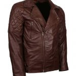 Mens Brown Leather Classic Marlon Brando Quilted First Motorcycle Jacket