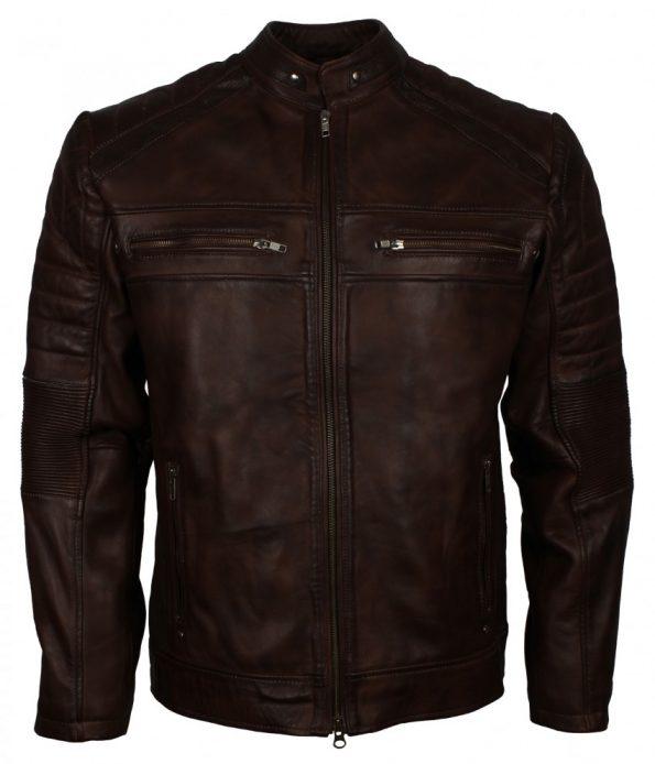 Mens Cafe Racer Quilted Designer Dark Brown Biker Leather Jacket