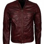 Mens Cafe Racer Style Quilted Waxed Brown Biker Leather Jacket