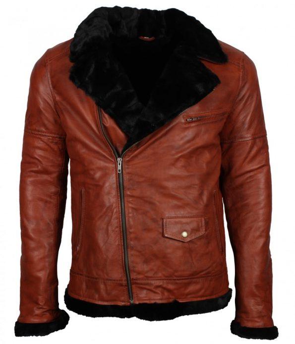 Men Classic Brando Biker Fur Lined Brown Aviator Leather Jacket
