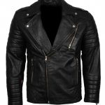 Mens Classic Brando Boda Biker Quilted Black Motorcycle Leather Jacket
