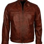 Mens Classic Diamond Distressed Brown Biker Leather Jacket