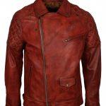 Men Classic Diamond Brando Biker Brown Motorcycle Leather Jacket