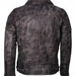 Classic Marlon Brando Biker Vintage Grey Waxed Motorcycle Leather Jacket