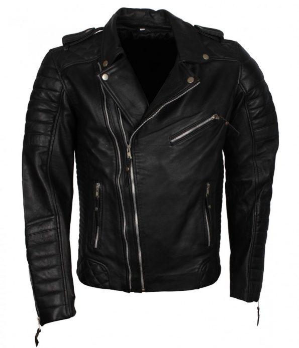 Classic Brando Boda Biker Double Zipper Black Motorcycle Leather Jacket