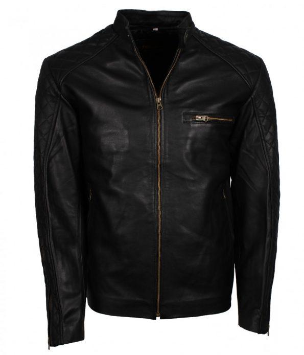 Men Designer Quilted Diamond Fashion Black Biker Leather Jacket