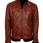 Mens Simple Aviator Fur Lined Designer Brown Black Fur Leather Jacket