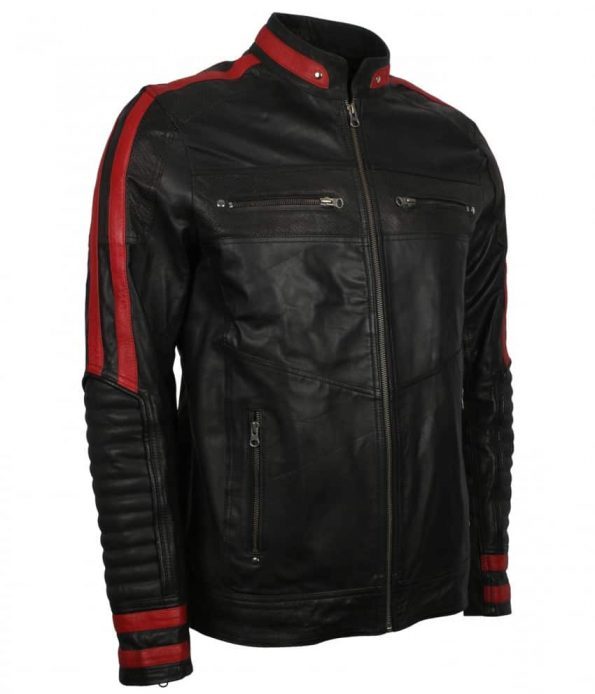 Mens Red Black Cafe Racer Striped Real Black Leather Motorcycle Jacket