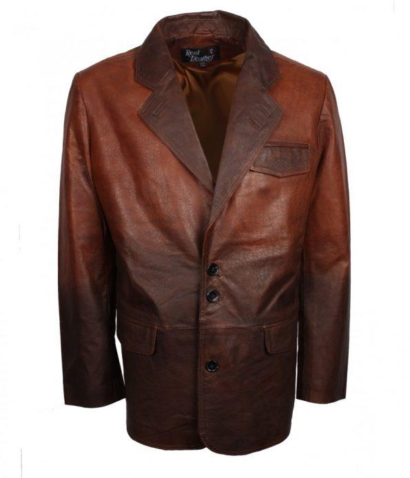 Mens Vintage Designer Double tone Brown Black Winter Leather Coat