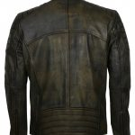 Mens Vintage Distressed Slim fit Quilted Rusty Black Leather Biker Jacket