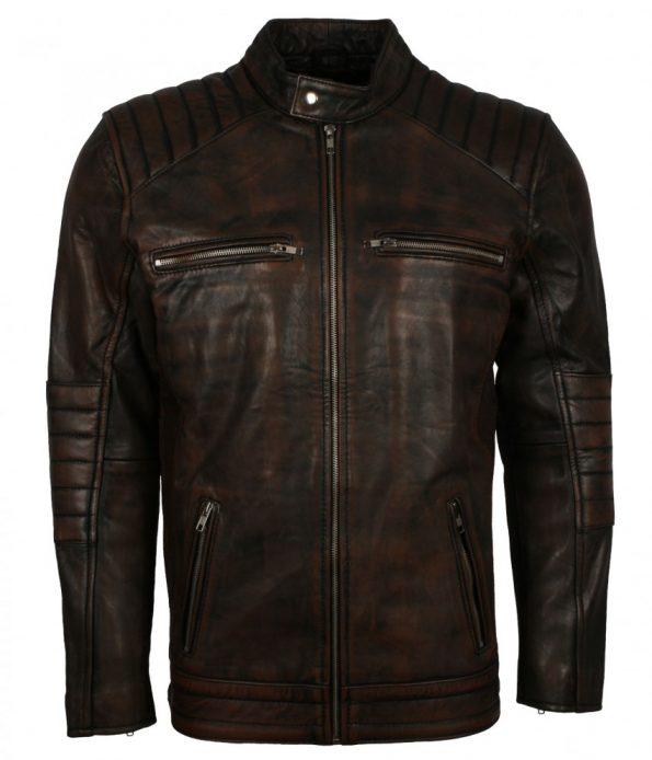 Mens Vintage Slim fit Rusty Brown Distressed Quilted Biker Leather Jacket