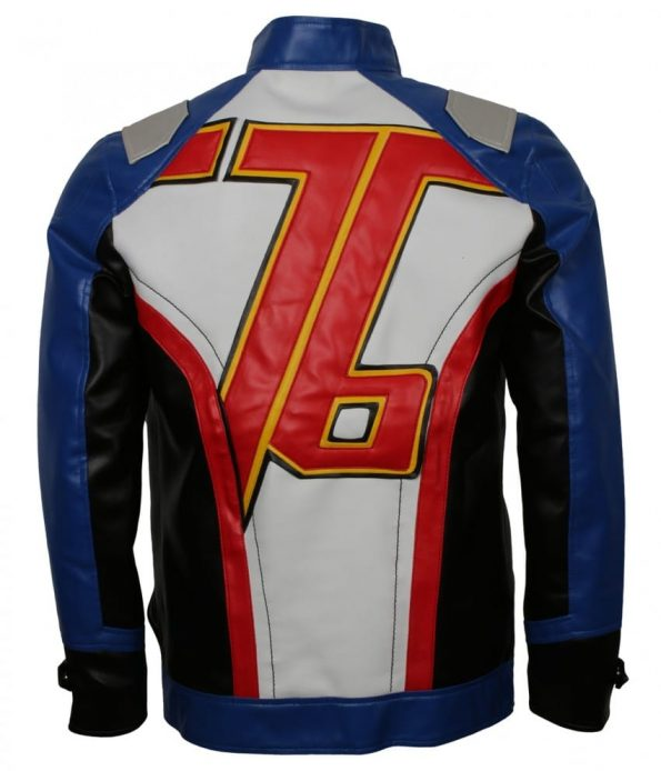 OverWatch Soldier 76 Men Blue Real Leather Jacket Cosplay Costume