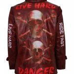 Skull and Bones Live Hard Designer Vintage Maroon Red Motorcycle Leather Jacket Biker Wear
