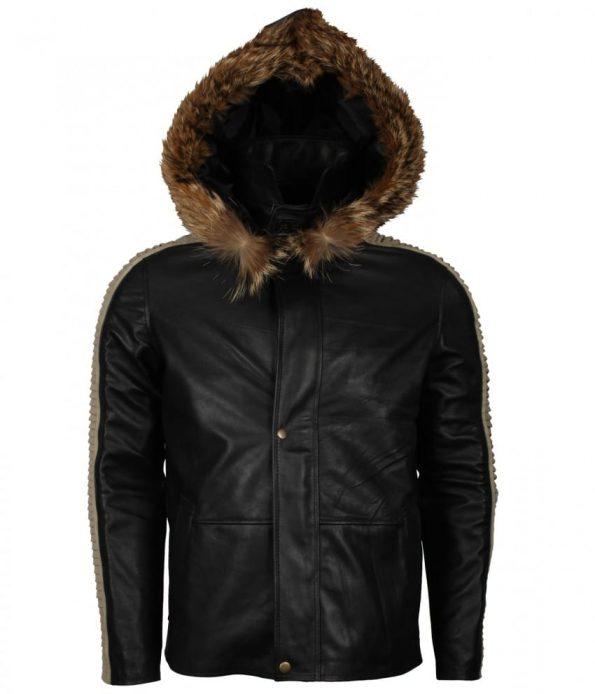 Star Wars Diego Luna Rogue One Parka Fur Faux Black Leather Jacket