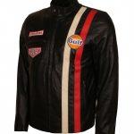 Steve McQueen Le Man Grand Prix Striped Gulf Brown Biker Leather Jacket
