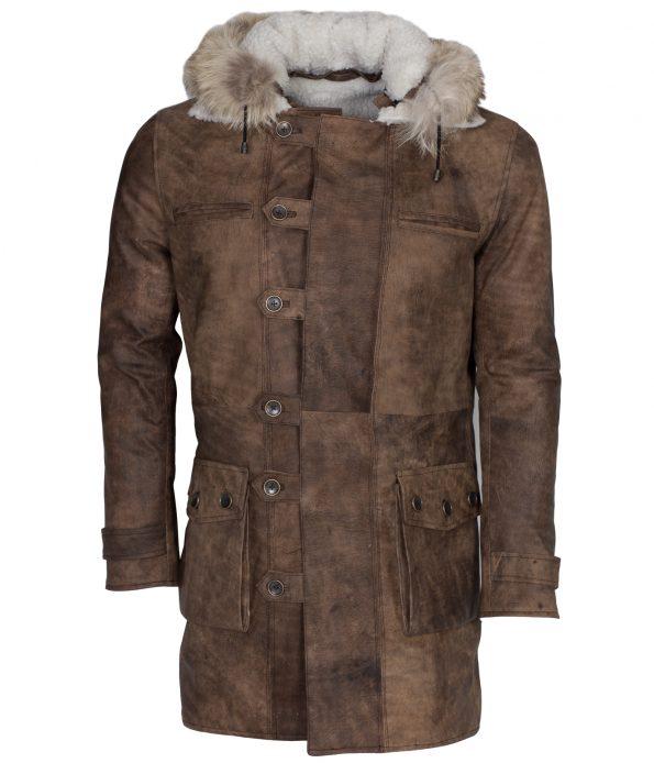 The Dark Knight Rises Tom Hardy Bane Fur Hooded Leather Coat