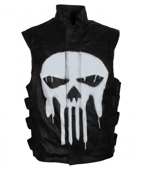 The Punisher Season Frank Castle Tactical Black Biker Leather Vest