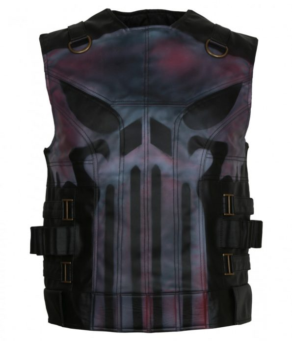 The Punisher Season 2 John Bernthal Waxed Black Biker Leather Vest