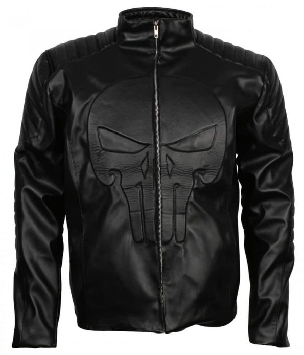 The Punisher Thomas Jane Frank Castle Black Skull Cosplay Leather Jacket Costume