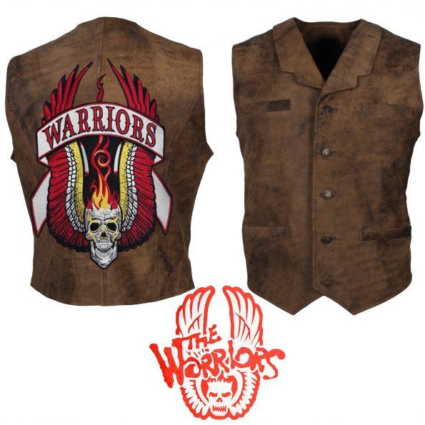 The Warriors Movie Coney Island Distressed Brown Biker Leather Vest