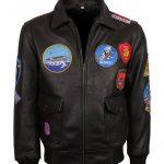 Tom Cruise Fur Collar Top Gun Aviator Black Bomber Leather Jacket