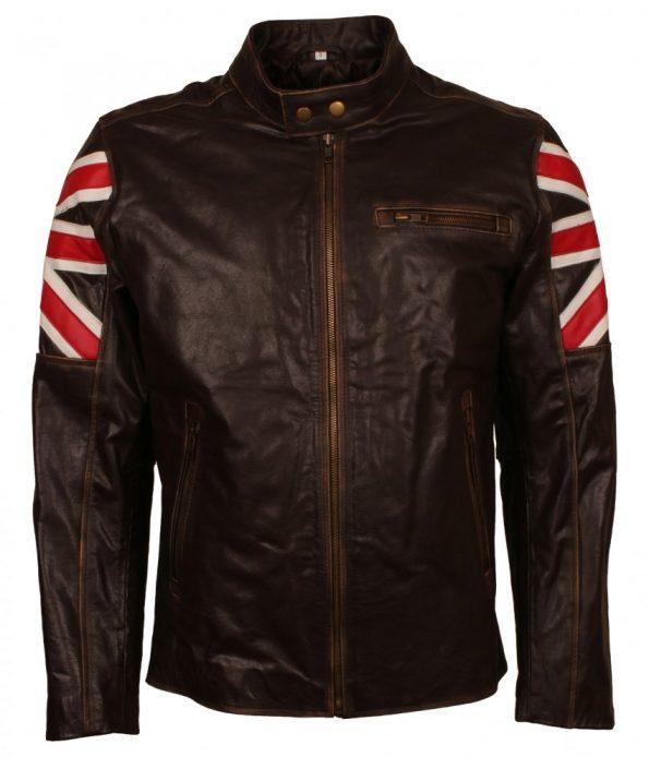 Union Jacket Uk British Flag Men Biker Brown Motorcycle Leather Jacket