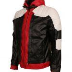 Batman Arkham Knight Hooded Red White Black Men Faux Leather Jacket