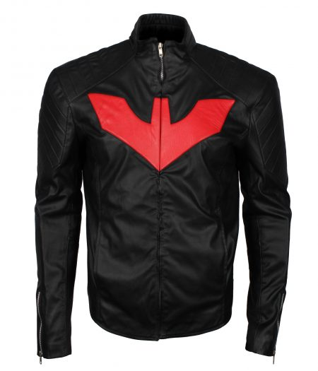 Batman Beyond Red Logo Men Inspired Black Faux Leather Jacket