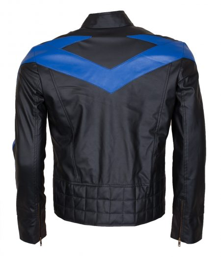 Batman Nightwing Dick Grayson Men Blue Black Faux Leather Jacket Cosplay Costume