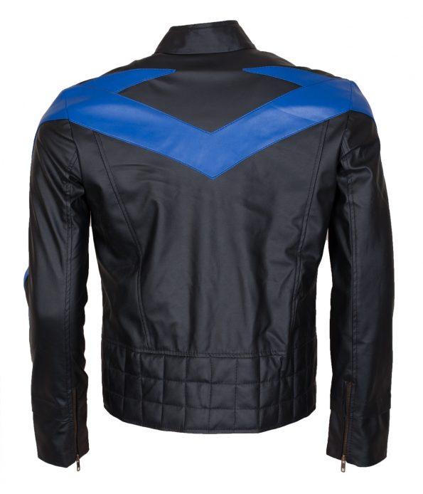 Batman Nightwing Dick Grayson Men Blue Black Faux Leather Jacket Cosplay Costume