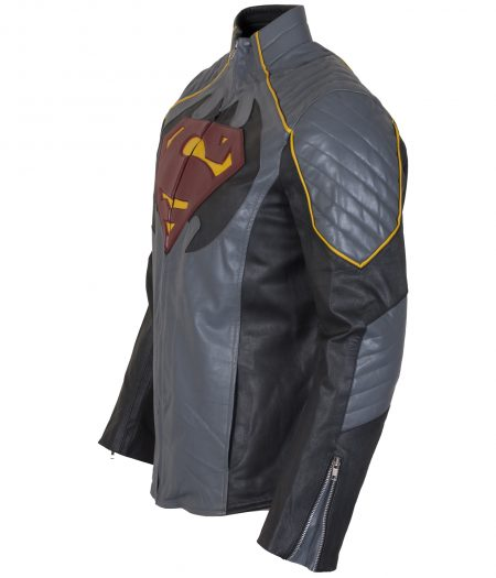 Batman Vs Superman Dawn Of Justice Grey Faux Leather Jacket Cosplay Costume
