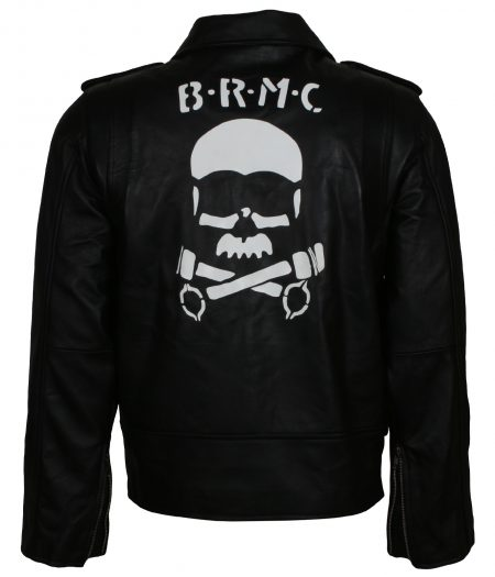 Classic Marlon Brando Johnny Strabler Skull the Wild One Black Faux Leather Jacket