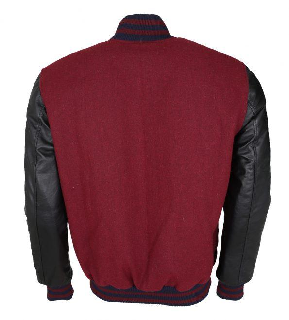 Elvis Presley In Concert Red Wool Faux Black Leather Jacket Cosplay Costume