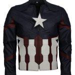 Men Captain America Blue Super Hero Faux leather jacket