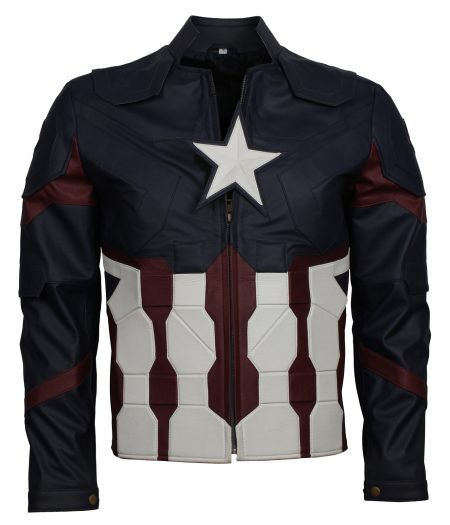 Men Captain America Blue Super Hero Faux leather jacket