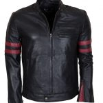 Men Mayhem Hybrid Red Stripes Black Faux Leather Jacket Costume