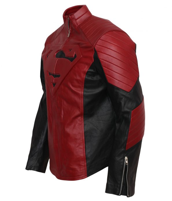 Men SuperMan Red Faux Leather Jacket