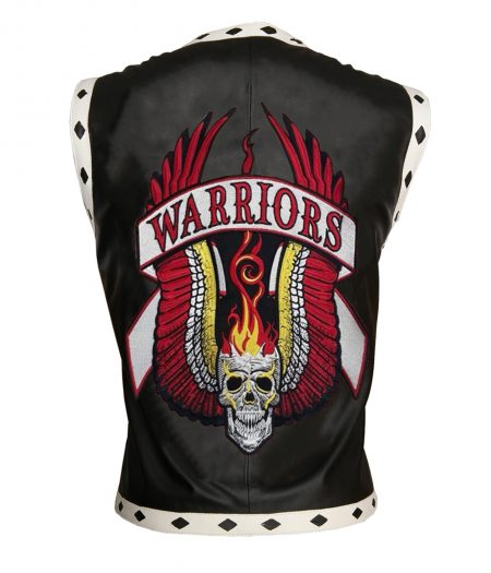 Men The Warriors Movie Black Biker Faux Leather Vest